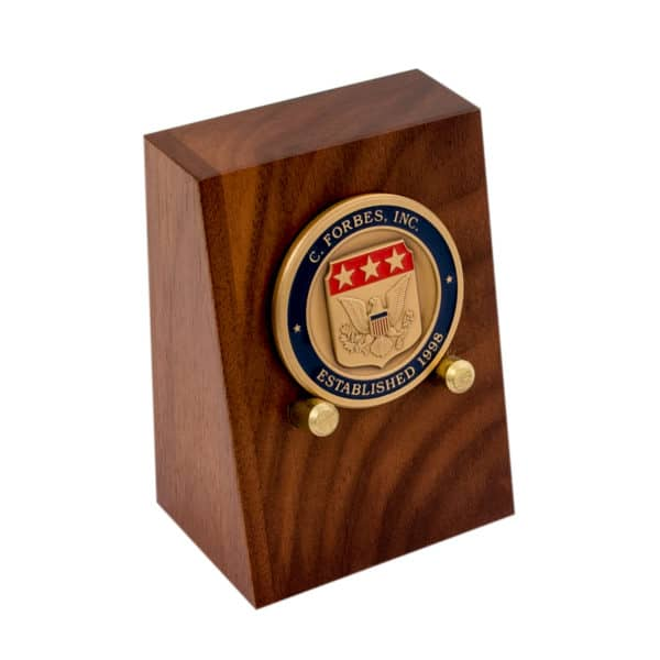 Wooden Coin Stand Brass C Forbes Inc Logo Coin