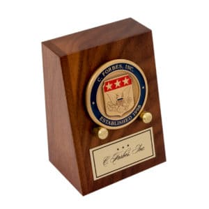 Wooden Coin Stand with C Forbes Inc logo Coin and Custom Plate