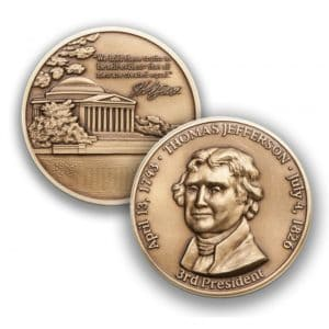 Challenge Coin for Thomas Jefferson
