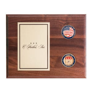 Walnut Plaque with Challenge Coins