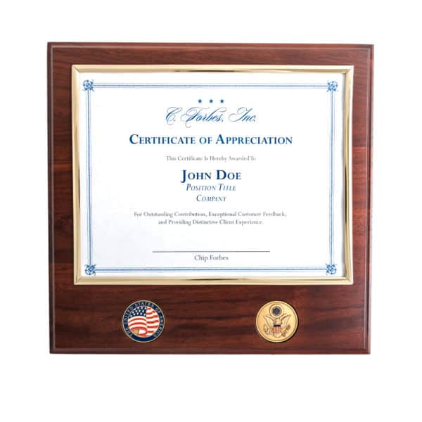 Certificate Plaque Brass