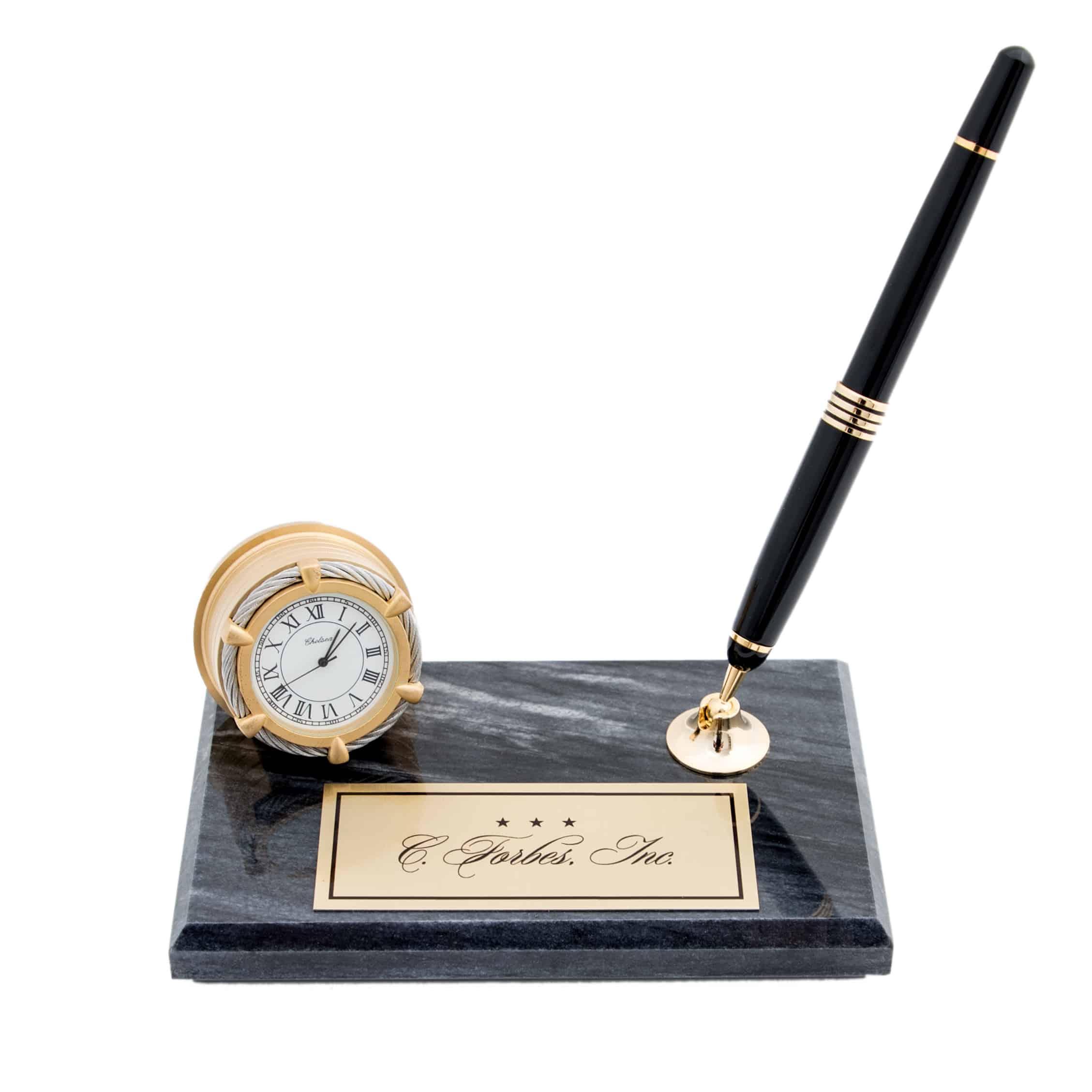 Chelsea Desk Clock And Fountain Pen Custom Brass Plate