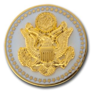 Great Seal lapel pin in White