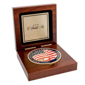 Medallion Display Box Custom Brass Plate