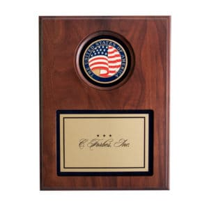 Medallion Plaque Brass USA Flag Landscape