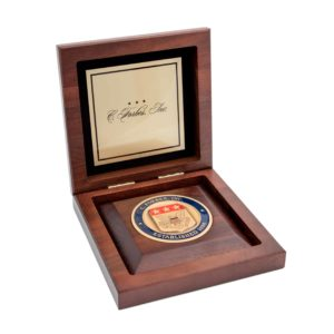 Medallion Wooden Display Box with Insert Custom Brass Plate