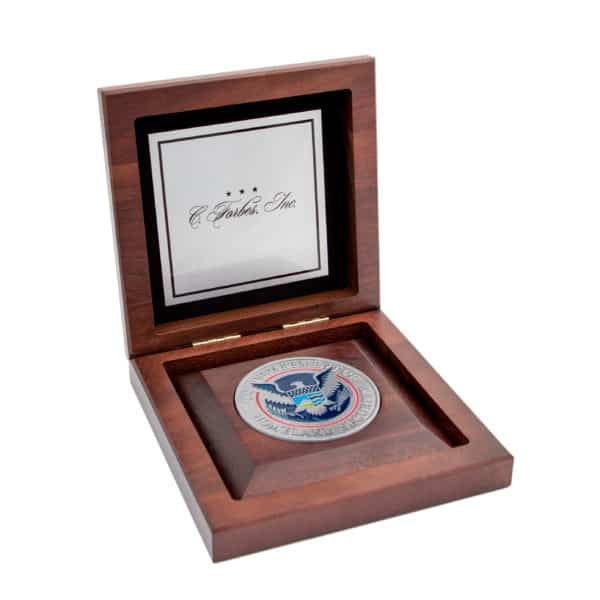 Medallion Wooden Display Box with Insert Custom Silver Plate