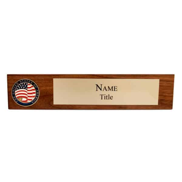 Wooden Name Plate Brass with USA Flag Coin