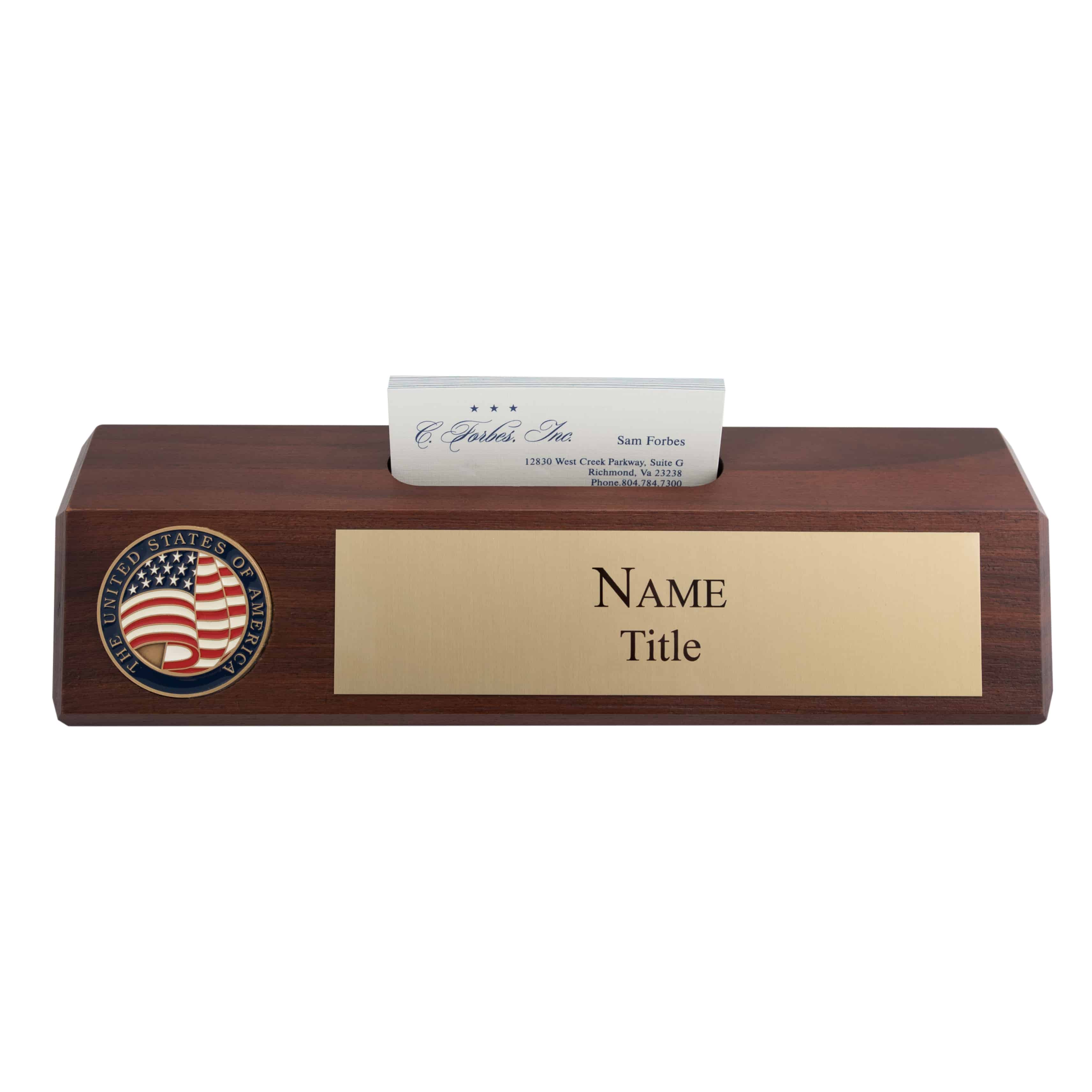 Nameplate with business card holder c forbes inc wooden name plate with business card holder brass colourmoves