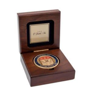 Wooden Coin Box Brass Plate