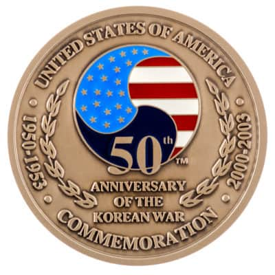 50th Anniversary of the Korean War Medallion Front