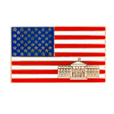 American Flag with White House Lapel Pin