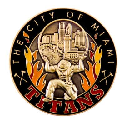 City of Miami Titans Fire Challenge Coin Front