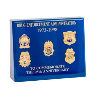 Drug Enforcement Administration 25th Anniversary Commemorative Lucite