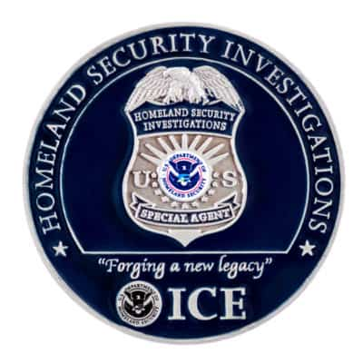 ICE HSI Bitmap Challenge Coin Back