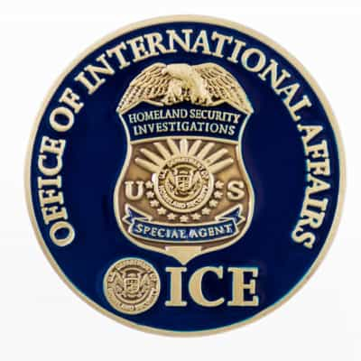 ICE International Affairs Challenge Coin Back