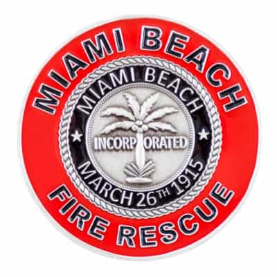 Miami Beach Fire Rescue Challenge Coin Back