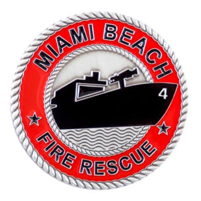 Miami Beach Fire Rescue Challenge Coin Front