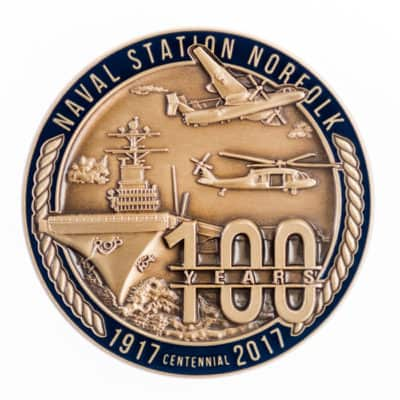 Naval Station Norfolk Challenge Coin Back