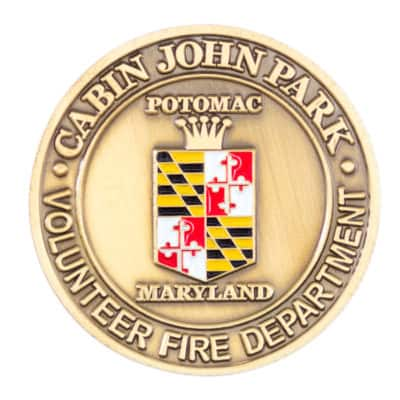 Potomac Maryland Fire Challenge Coin Back