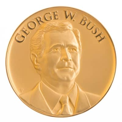 President George W Bush Gold Medallion Front