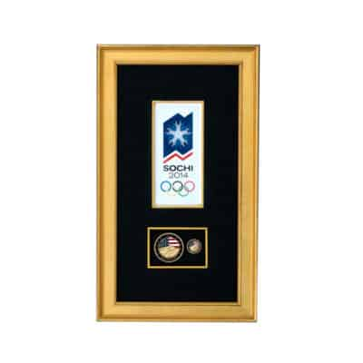 Sochi 2014 Olympics Challenge Coin and Lapel Pin Shadowbox