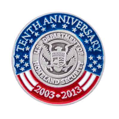 Tenth Anniversary Department of Homeland Security Lapel Pin