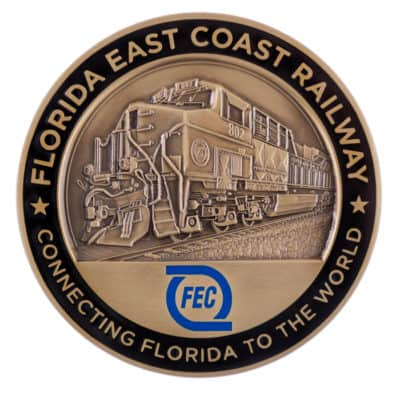 Florida East Coast Railway Medallion Back