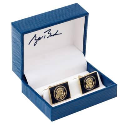 George Bush Presidential Cuff Links in Signature Box