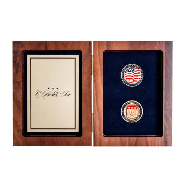 Book Box Brass Plate C Forbes Inc Logo Challenge Coins