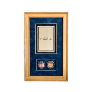 Shadow Box Gold Frame Brass Plate Brass Challenge Coins