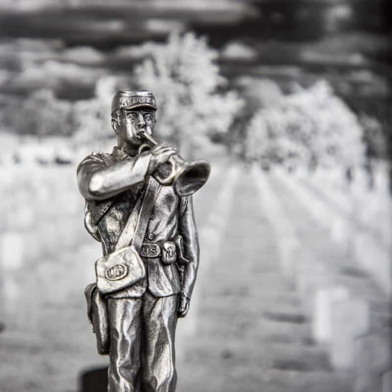 Arlington statue of bugler playing taps